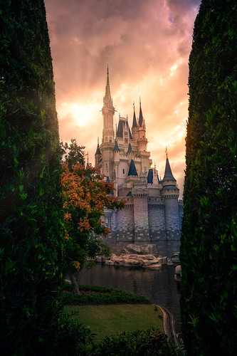 Cinderella Castle Sunset Between Two Trees | by TheTimeTheSpace