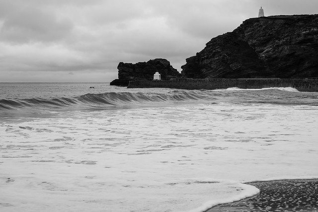 Portreath Beach in Black & White