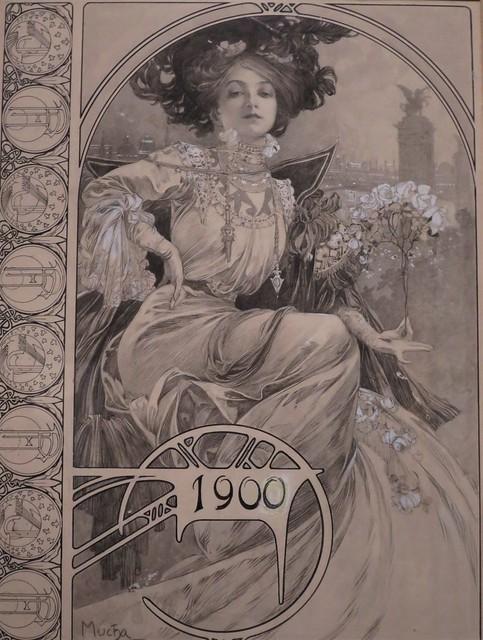 Dessin du menu pour le banquet officiel de l'exposition universelle de Paris (1900), Alphonse Mucha - Exposition Alphonse Mucha, Musée du Luxembourg, Paris