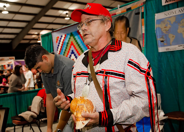 Poarch Creek Indians Native American shell carving at the 34th annual Mobile International Festival in Mobile Alabama
