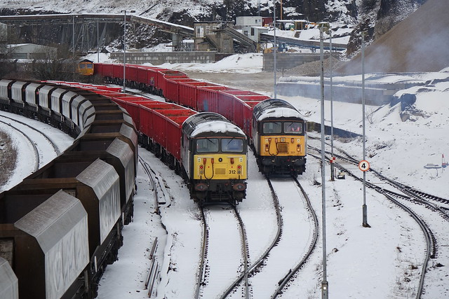 Class 56312/301 shunting at peak forest/buxton in derbyshire.