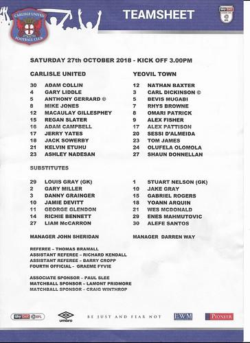 Carlisle United V Yeovil Town 27-10-18 | by cumbriangroundhopper