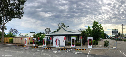 Tesla Supercharger Station, Motto Farm Motel, Heatherbrae, NSW | by Black Diamond Images