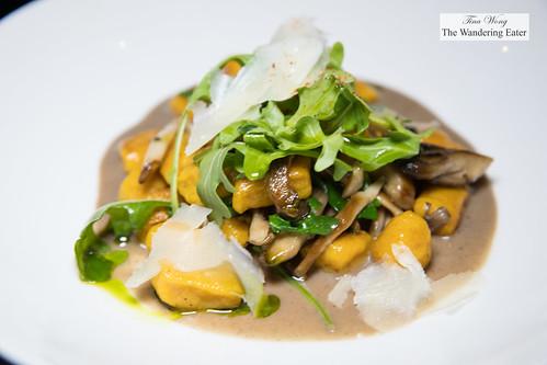 Sugar pumpkin gnocchi, wild mushrooms, arugula, aged Parmesan   by thewanderingeater