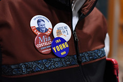 Political buttons on Sam Moore's jacket