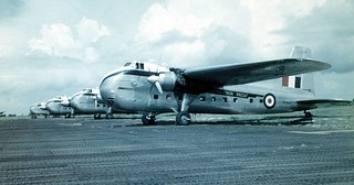 1955 Four RNZAF Bristol Freighters on 41 Sqn Changi Flight Line, NZ5904 in the foreground