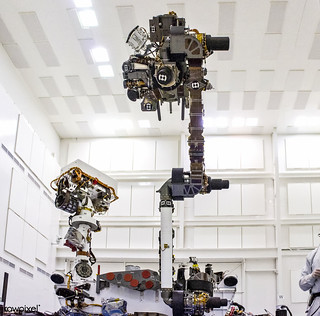 The NASA Mars Science Laboratory rover, Curiosity, was taken during testing on June 3, 2011. The turret at the end of Curiosity robotic arm holds five devices. In this view, the drill is at the six o'clock position. Original from NASA. Digitally