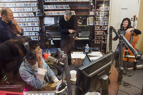 Helen Gillet on air with Cole Williams at WWOZ 38th birthday celebration on December 5, 2018. Photo by Ryan Hodgson-Rigsbee RHRphoto.com