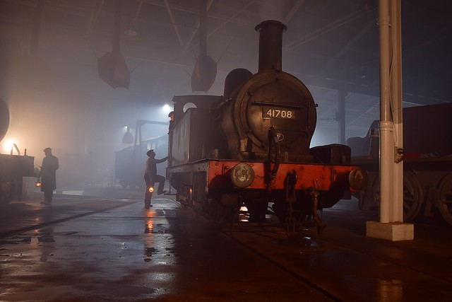 Midland Railway Survivor, Johnson Class 1377 of 1878 No.41708 looking as though she is being prepped for a hard nights work at Stavely Ironworks. Barrow Hill Roundhouse 07 11 2018 Timeline Events