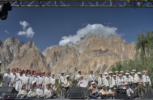 Children of the village medium school at Passu Face Mela