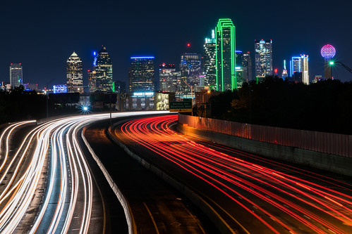 dallas interstate30 nikon nikond5300 texas tomlandryfreeway city cityscape downtown freeway geotagged light lightstream lighttrails lights longexposure night sky skyline skyscraper skyscrapers traffic urban starburst