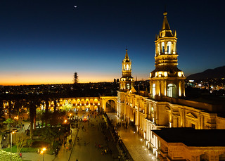 Sunset at Arequipa Plaza de Armas