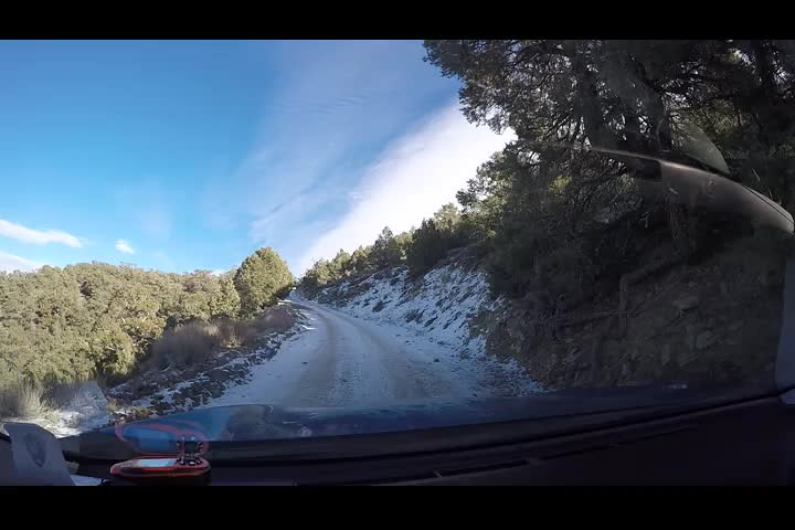 0699 GoPro video as we drive on the snow-covered dirt road just below Mahogany Flat Campground
