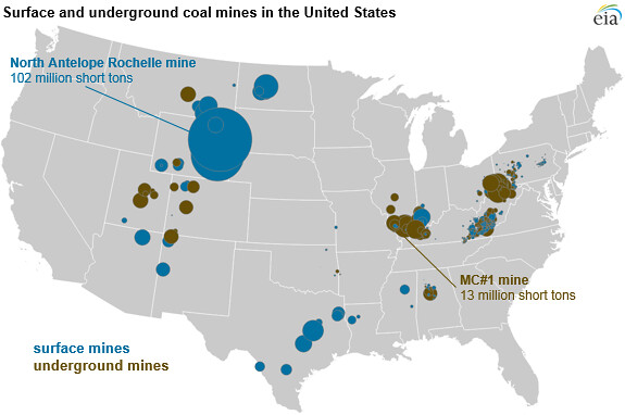 Us Surface And Underground Coal Mine Locations And Produ Flickr - Coal-map-us
