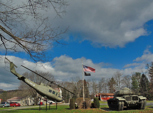 stoystown somerset bell uh1 iroquois huey helicopter tank m60 trostletown covered bridge american flag oldglory patriotism veterans memorial vehicles military pa pennsylvania clouds scenic landscapes georgeneat patriotportraits neatroadtrips laurelhighlands