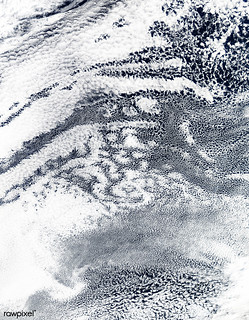 Open-cell and closed-cell clouds off Peru. Original from NASA. Digitally enhanced by rawpixel.