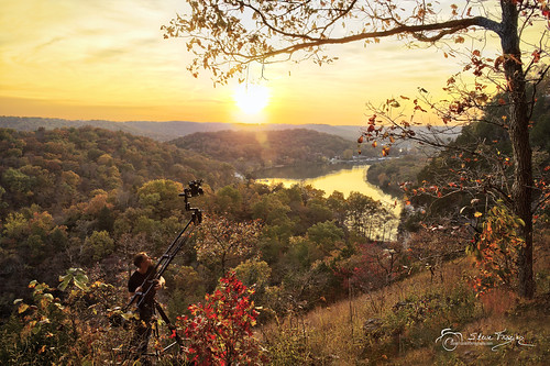 hahatonkastatepark missouri mo lakeoftheozarks camdencounty landscape scene scenery mountains hills bluff vidographer jibarm outdoor beautiful sunset lake water reflections trees autumn fall stevefrazierphotography stephenfrazier color evening sundown hdr photomatixpro6 sun sky