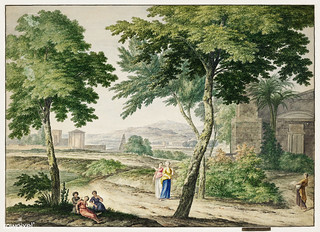 Italianizing landscape by Michiel van Huysum (1744). Original from The Rijksmuseum. Digitally enhanced by rawpixel.
