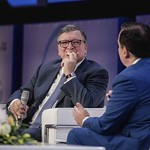 Jose Manuel Barroso and John Defterios during Plenary session 1 at IRU World Congress