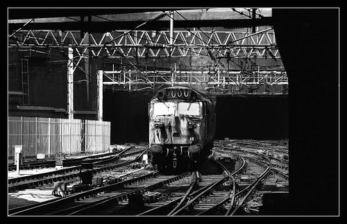 50032 class50 englishelectric westmidlands birmingham birminghamnewstreet 1976 monochrome mono blackandwhite bw 0000 shadows ilford fp4 acutol wcml westcoastmainline gritty urban bns ohle