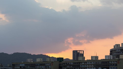 Time Lapse of Sunset behind Guomao Community Buildings
