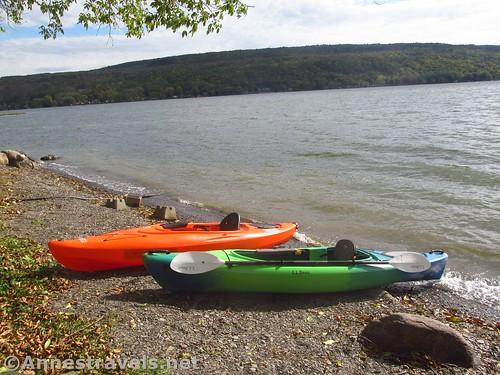 Kayaks on the shore of Honeoye Lake, New York