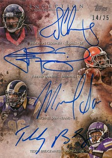 2014 Topps Inception Quad Autographs #QRACMSB Michael Sam-Johnny Manziel-Teddy Bridgewater-Jadeveon Clowney | by michaelwitt1