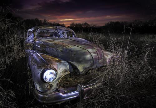abandoned abandonedcars junkcars paintingwithlight nightphotography sunset texas ruraltexas