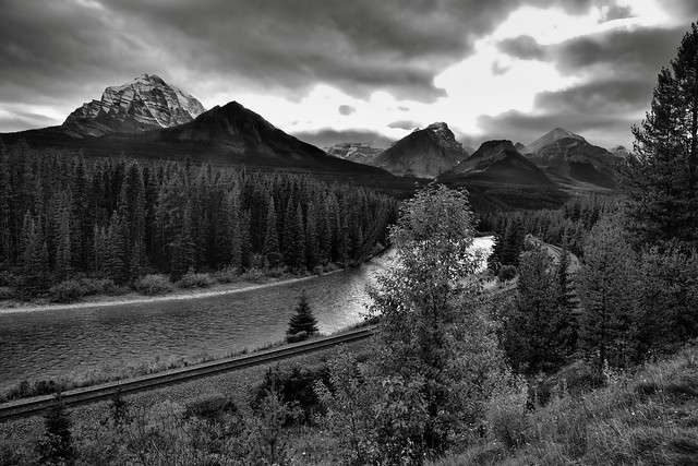 A Wide Angle View to the Bow Valley and River at Morant's Curve (Black & White, Banff National Park)