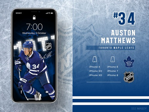 #34 Auston Matthews (Toronto Maple Leafs) iPhone Wallpapers | by Rob Masefield (masey.co)