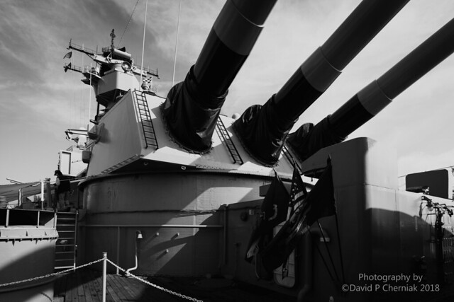 USS Iowa's 16-inch Guns Turret 2 Explosion Center Gun 47 Killed 4-19-1989 BW (7596) BB-61 San Pedro, CA 10-29-2018.