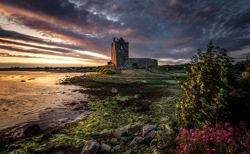 landscape castle tower evening sunset sky clouds water sea coast dunguaire kinvara galway ireland ir brush