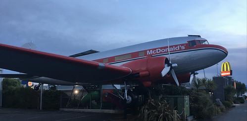 worldscoolest mcdonalds dc3 airplane restaurant taupo dusk mickeydees mileagerun status newzealand iphone6s aviation aircraft macca