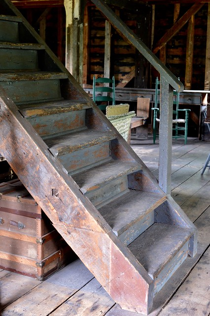 Wooden stairs going upstairs to the upper level of the Port Hope Mill , seen at doors open 2014 , Martin's photograph , Port Hope , Ontario , Canada , June 8. 2014
