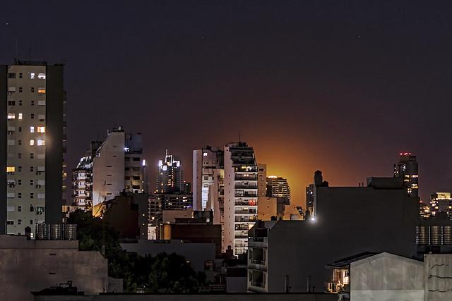 Orange moon in the city.