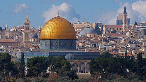dome rock temple mount old town city jerusalem israel palestine olives panorama