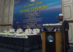 U.S. and Bangladeshi navy officials listen to a recitation during the opening ceremony of CARAT Bangladesh, Nov. 4. (U.S. Navy/MC2 Tristin Barth)