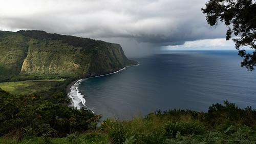 honokaa hawaii unitedstatesofamerica us waipiovalley overlook ocean pacific rain clouds trees valley nikon d850 sand black beach bay sea landscape bluff tree cliff sky maountain water grass coast