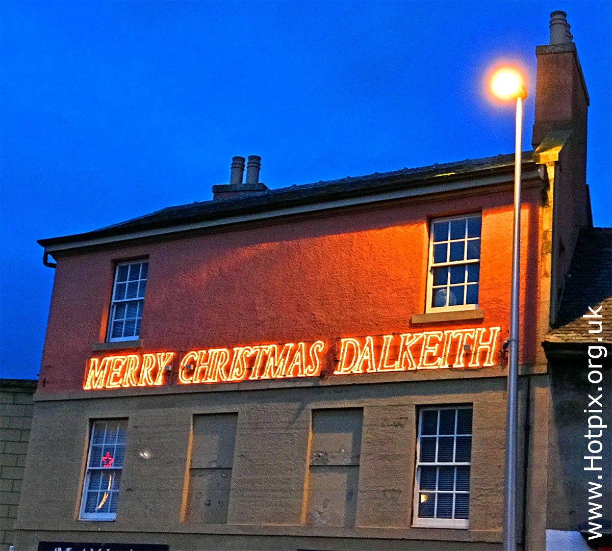 HousingITguy,Project365,2nd 365,HotpixUK365,Tone Smith,GoTonySmith,365,2365,one a day,Tony Smith,Hotpix,Happy Christmas Dalkeith,Dalkeith,Midlothian,dusk,sign,Christmas,decorations,Christmas Decorations