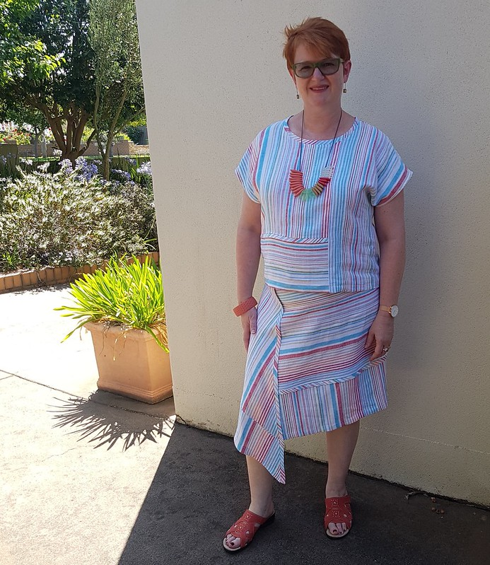 Style Arc Quinn woven skirt and top in Thai yarn dyed striped linen