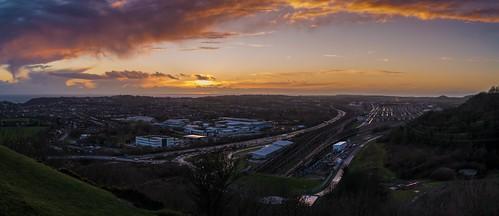 nikkor35mmf18 folkestone urban nikon d7100 train track winter tree panorama kent sunset clouds england caesarscamp
