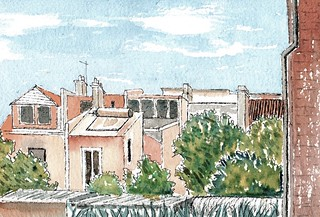 Backs of Hereford St, Glebe (from Library carpark). Line and watercolour, November 2018.