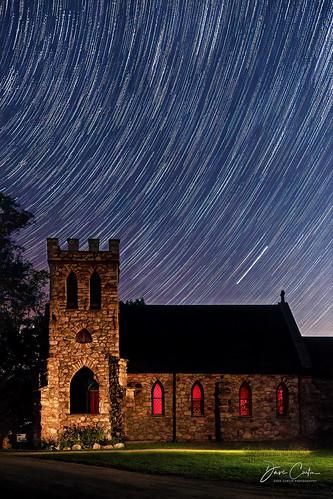 stone church night star trails sky dark