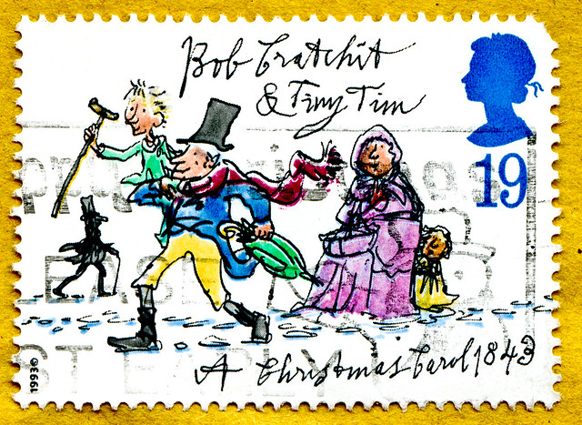 great xmas stamp 19p Great Britain (Bob Cratchit & Tiny Tim;  characters of