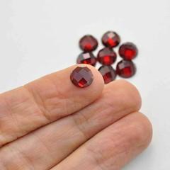 natural red garnet round rose cut gemstone