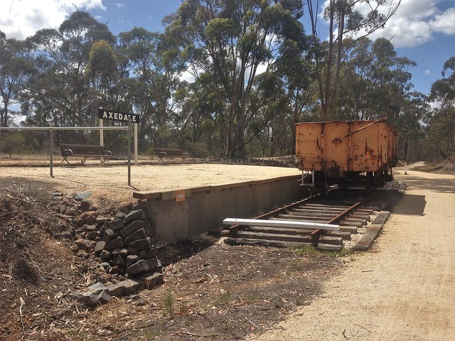 Site of former Axedale Station with VR wagon