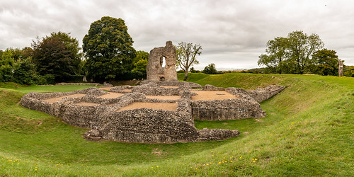 ludgershall castle panorama landscape building architecture tower ruins ancient english heritage grass bank ditch stonework royal residence sky tree photomerge