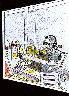 Reading the news. Studio 3 in Radio 2RPH, Glebe. Pen and watercolour sketch with Prisma filter, 2018.