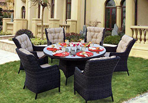 Darlee Valencia Wicker 7Piece Round Dining Set With Cushio