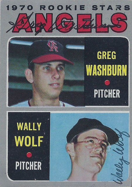 1970 Topps / Rookie Stars #74 - Greg Washburn (Pitcher) / Wally Wolf (Pitcher) - Autographed Baseball Card (California Angels)